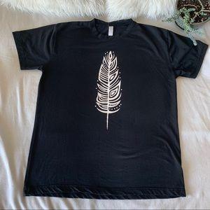 100% Cotton Black Graphic Feather Print T-Shirt